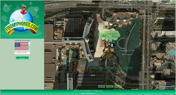 FindMyphones Screenshot Bellagio Dr, Las Vegas